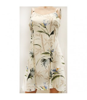 Hawaiian Rayon Camisole Short Dress [ Bamboo Paradise ] Cream