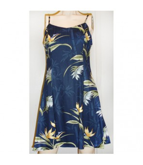 Hawaiian Rayon Camisole Short Dress [ Bamboo Paradise ] Navy