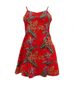 Hawaiian Rayon Camisole Short Dress [ Jungle Bird ] Red