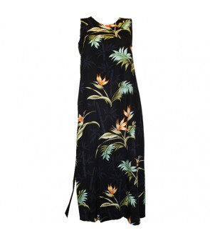 Hawaiian Rayon Long Tank Dress [ Bamboo Paradise ] Black