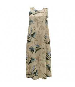 Hawaiian Rayon Long Tank Dress [ Bamboo Paradise ] Cream