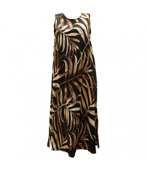 Hawaiian Rayon Long Tank Dress [ Palm Fronds ] Black