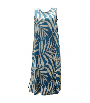 Hawaiian Rayon Long Tank Dress [ Palm Fronds ] Blue