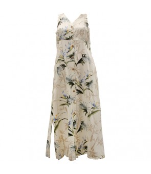Hawaiian Rayon Long Button Tank Dress [ Bamboo Paradise ] Cream