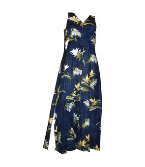 Hawaiian Rayon Long Button Tank Dress [ Bamboo Paradise ] Navy
