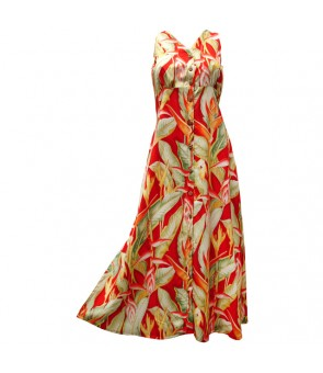 Hawaiian Rayon Long Button Tank Dress [ Heliconia ] Red