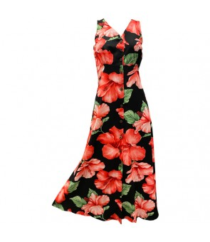 Hawaiian Rayon Long Button Tank Dress [ Hibiscus Blossom ] Black