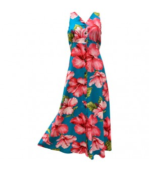 Hawaiian Rayon Long Button Tank Dress [ Hibiscus Blossom ] Teal