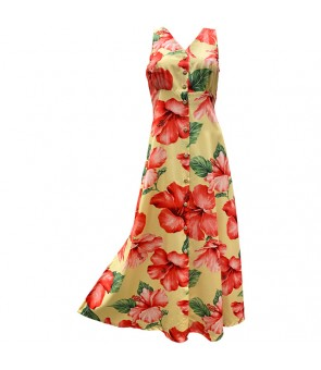 Hawaiian Rayon Long Button Tank Dress [ Hibiscus Blossom ] Yellow