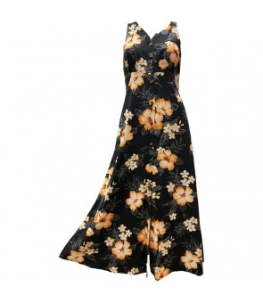 Hawaiian Rayon Long Button Tank Dress [ Hibiscus Garden ] Black