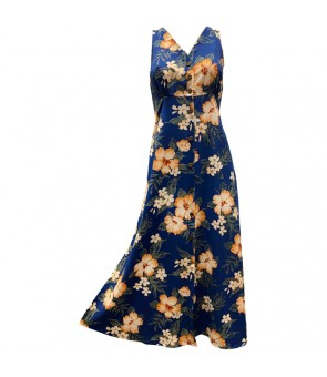 Hawaiian Rayon Long Button Tank Dress [ Hibiscus Garden ] Navy
