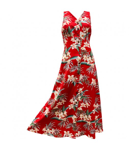 Hawaiian Rayon Long Button Tank Dress [ Orchid Ginger ] Red