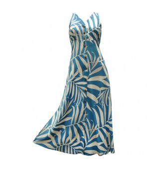 Hawaiian Rayon Long Button Tank Dress [ Palm Fronds ] Blue