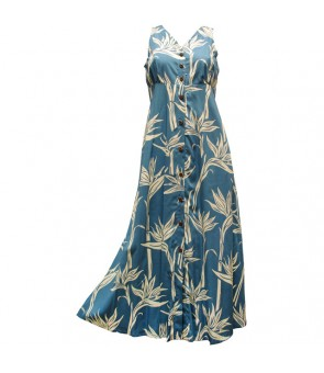 Hawaiian Rayon Long Button Tank Dress [ Pareau Paradise ] Blue