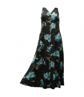 Hawaiian Rayon Long Button Tank Dress [ Sakura ] Black