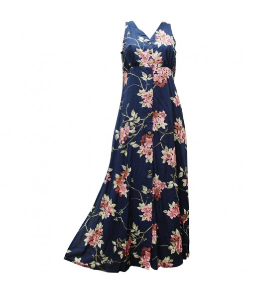 Hawaiian Rayon Long Button Tank Dress [ Sakura ] Navy