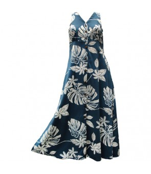 Hawaiian Rayon Long Button Tank Dress [ Tiare 19 ] Blue
