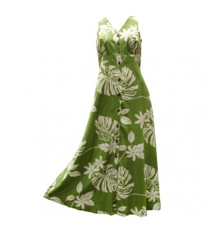 Hawaiian Rayon Long Button Tank Dress [ Tiare 19 ] Olive Green