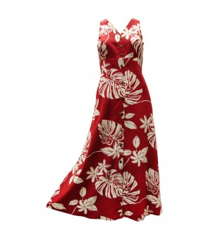 Hawaiian Rayon Long Button Tank Dress [ Tiare 19 ] Red