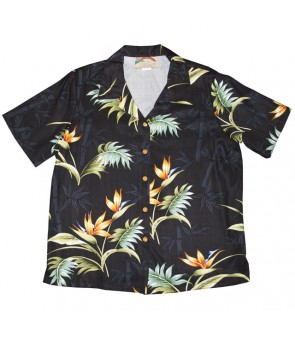 Hawaiian Ladies Rayon Aloha Shirt [ Bamboo Paradise ] Black