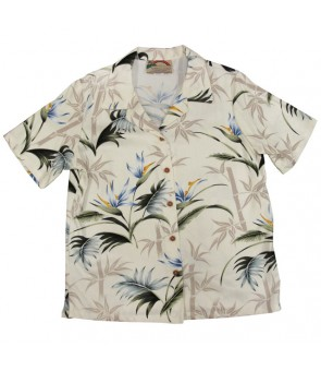 Hawaiian Ladies Rayon Aloha Shirt [ Bamboo Paradise ] Cream