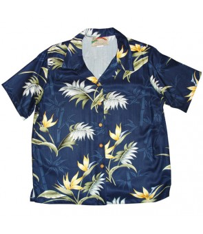 Hawaiian Ladies Rayon Aloha Shirt [ Bamboo Paradise ] Navy