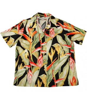 Hawaiian Ladies Rayon Aloha Shirt [ Heliconia ] Black