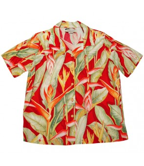 Hawaiian Ladies Rayon Aloha Shirt [ Heliconia ] Red