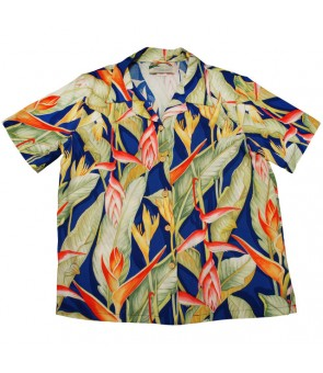 Hawaiian Ladies Rayon Aloha Shirt [ Heliconia ] Royal Blue