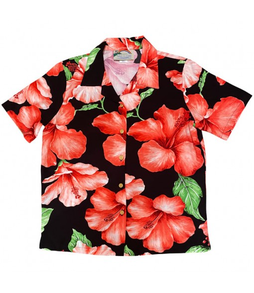 Hawaiian Ladies Rayon Aloha Shirt [ Hibiscus Blossom ] Black