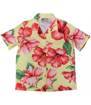 Hawaiian Ladies Rayon Aloha Shirt [ Hibiscus Blossom ] Yellow