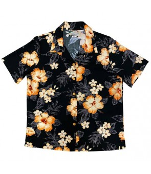 Hawaiian Ladies Rayon Aloha Shirt [ Hibiscus Garden ] Black