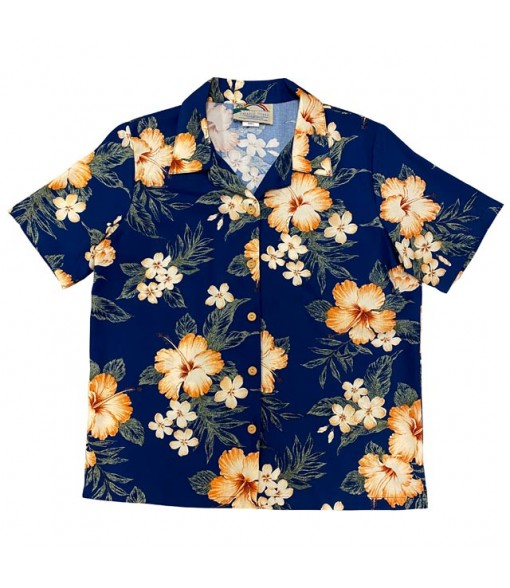Hawaiian Ladies Rayon Aloha Shirt [ Hibiscus Garden ] Navy