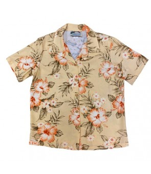 Hawaiian Ladies Rayon Aloha Shirt [ Hibiscus Garden ] Peach