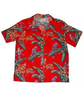 Hawaiian Ladies Rayon Aloha Shirt [ Jungle Bird ] Red