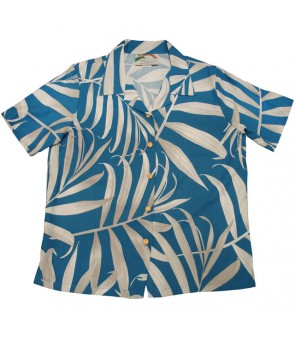 Hawaiian Ladies Rayon Aloha Shirt [ Palm Fronds ] Blue