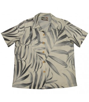 Hawaiian Ladies Rayon Aloha Shirt [ Palm Fronds ] Cream