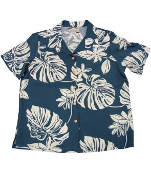Hawaiian Ladies Rayon Aloha Shirt [ Tiare 19 ] Blue