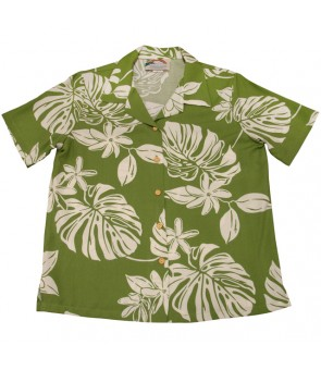 Hawaiian Ladies Rayon Aloha Shirt [ Tiare 19 ] Olive Green