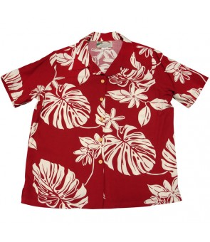 Hawaiian Ladies Rayon Aloha Shirt [ Tiare 19 ] Red