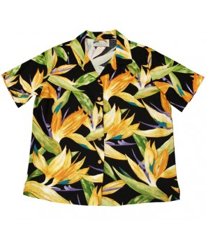 Hawaiian Ladies Rayon Aloha Shirt [ Watercolor BOP ] Black