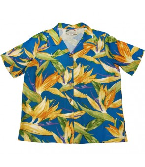 Hawaiian Ladies Rayon Aloha Shirt [ Watercolor BOP ] Blue