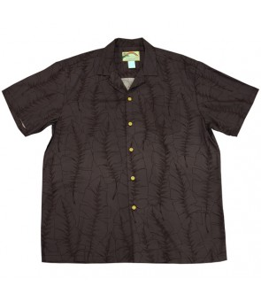 Hawaiian Rayon Aloha Shirt [ Banana Leaf ] Black