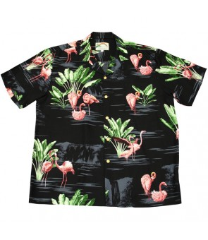 Hawaiian Rayon Aloha Shirt [ Flamingo 19 ] Black