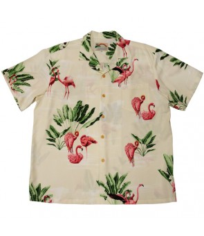 Hawaiian Rayon Aloha Shirt [ Flamingo 19 ] Cream