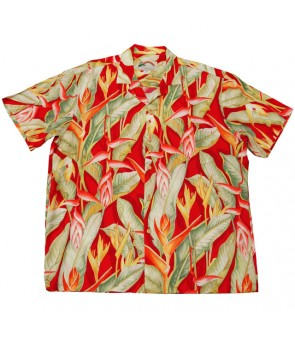 Hawaiian Rayon Aloha Shirt [ Heliconia ] Red