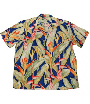Hawaiian Rayon Aloha Shirt [ Heliconia ] Royal Blue