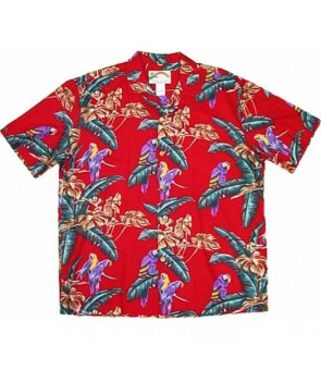 Hawaiian Rayon Aloha Shirt [ Jungle Bird ] Red