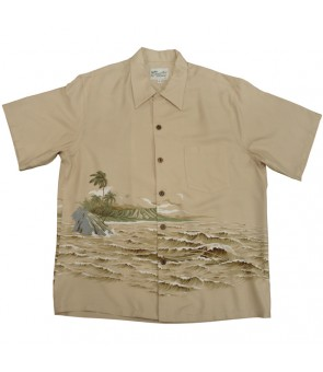 Hawaiian Rayon Aloha Shirt [ Kaimana Surf ] Tan