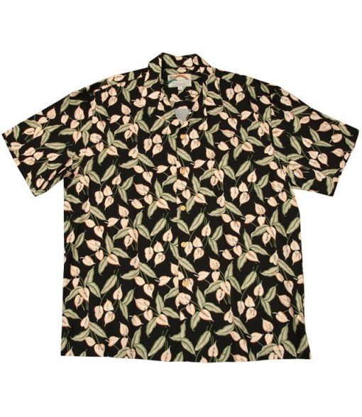 Hawaiian Rayon Aloha Shirt [ Mini Anthurium ] Black